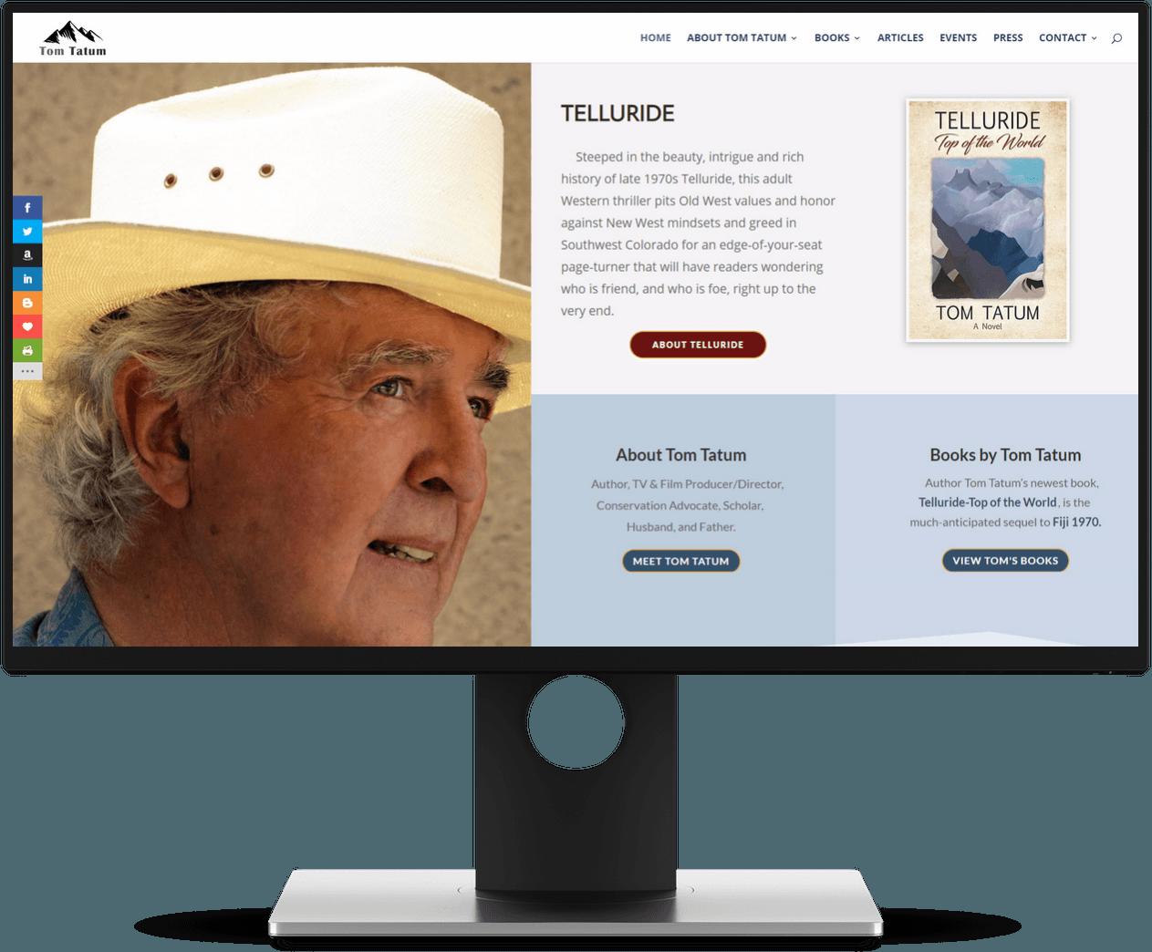 Tom Tatum Author Website Screenshot
